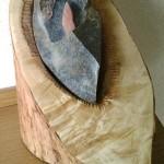 Moederschoot-seleniet- op Springstone op hout, Verkocht.